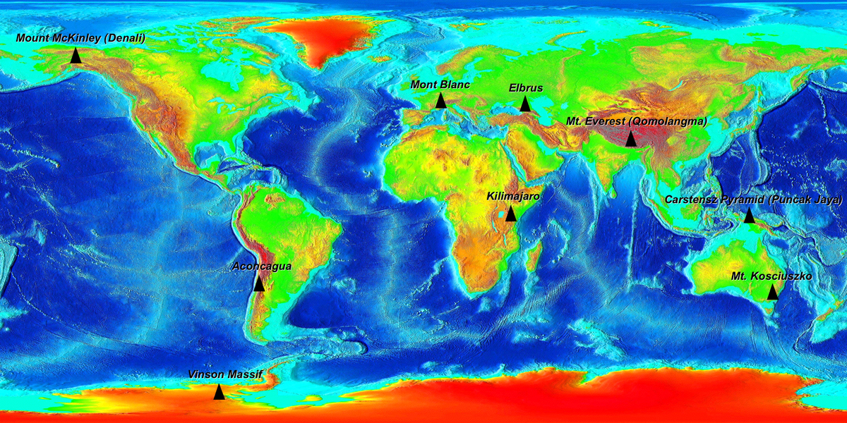 Les plus hautes montagnes de tous les continents.